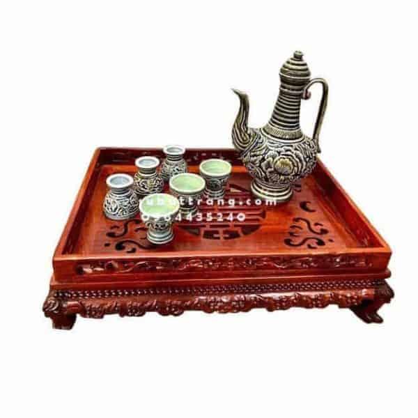 Bộ Ấm Chén Gốm Hoa Nổi Rượu Chân Cao Kèm Khay - 10122