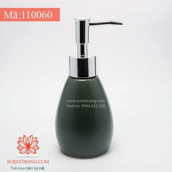 Bình Đựng Dầu Gội Sữa Tắm Khách Sạn Dáng Tròn Men Xanh Lục 200ml - 110060