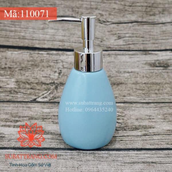 Bình Đựng Dầu Gội Sữa Tắm Khách Sạn Dáng Tròn Men Xanh Mát 200ml - 110071