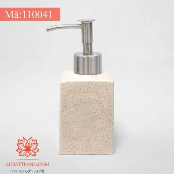Bình Đựng Dầu Gội Sữa Tắm Khách Sạn Men Cát Trắng Dáng Vuông 250ml - 110041