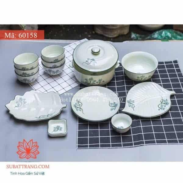 Bộ Đồ Ăn Hoa Sen Xanh Men Kem - 60158