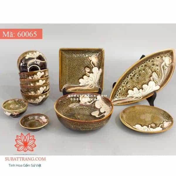 Bộ Đồ Ăn Men Gấm Vàng Khắc Sen - 60065