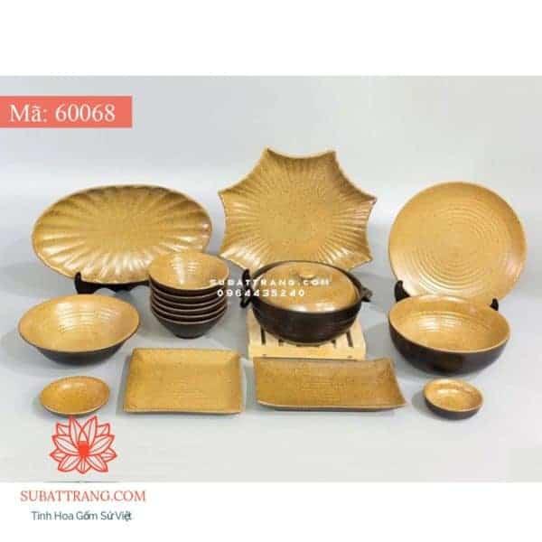 Bộ Đồ Ăn Men Gốm Vàng - 60068