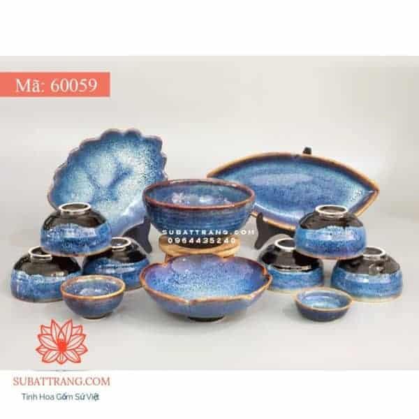 Bộ Đồ Ăn Men Hỏa Biến Xanh Đá (Ocean Blue) - 60059