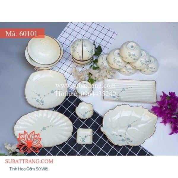 Bộ Đồ Ăn Men Kem Hoa Đào Xanh - 60101