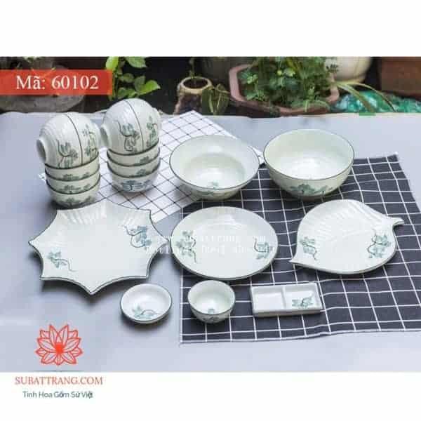 Bộ Đồ Ăn Men Kem Hoa Sen Xanh - 60102