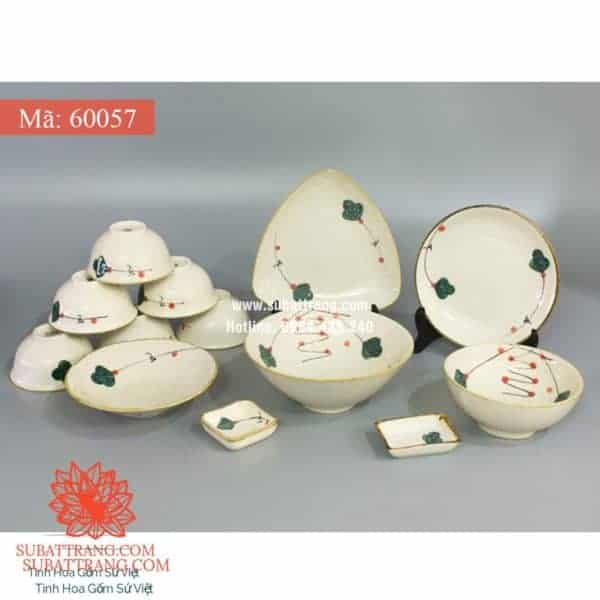 Bộ Đồ Ăn Men Kem Vẽ Hoa Cherry - 60057