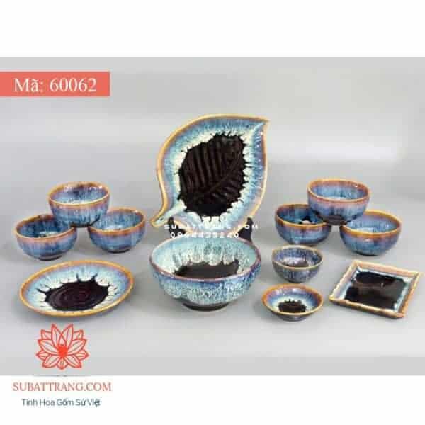 Bộ Đồ Ăn Men Sóng Biển Xanh - 60062