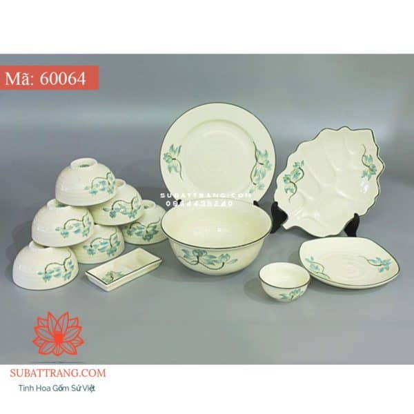 Bộ Đồ Ăn Men Trắng Vẽ Sen Xanh - 60064