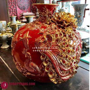 Bóng Hút Lộc Công Đào Màu Vẽ Vàng Cao 35cm - 120016