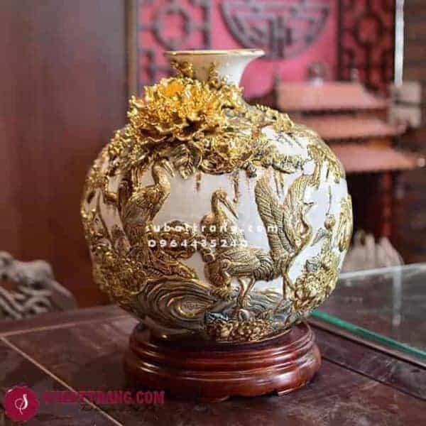 Bóng Hút Lộc Tùng Hạc Vẽ Vàng Cao 35cm - 120039