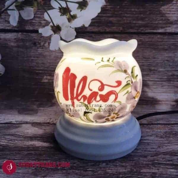 Đèn Xông Tinh Dầu Bằng Điện Chữ Nhẫn Dáng Lượn - 90039