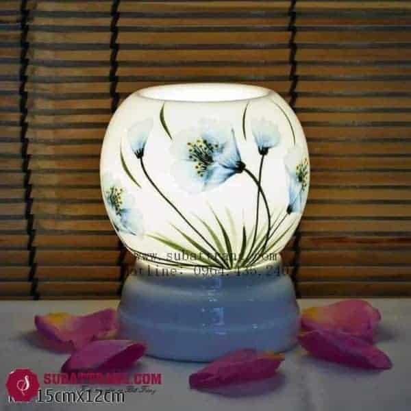 Đèn Xông Tinh Dầu Bằng Điện Vẽ Hoa Dáng Tròn - 90037