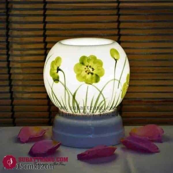 Đèn Xông Tinh Dầu Bằng Điện Vẽ Hoa Dáng Tròn - 90059