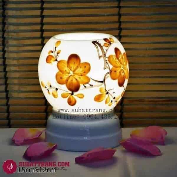Đèn Xông Tinh Dầu Bằng Điện Vẽ Hoa Dáng Tròn - 90070