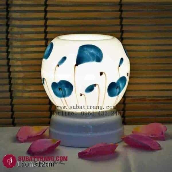 Đèn Xông Tinh Dầu Bằng Điện Vẽ Hoa Dáng Tròn - 90074