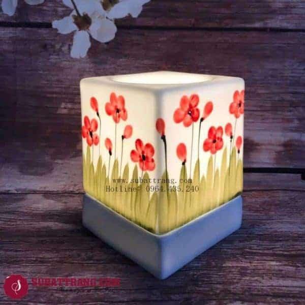 Đèn Xông Tinh Dầu Bằng Điện Vẽ Hoa Dáng Vuông - 90085