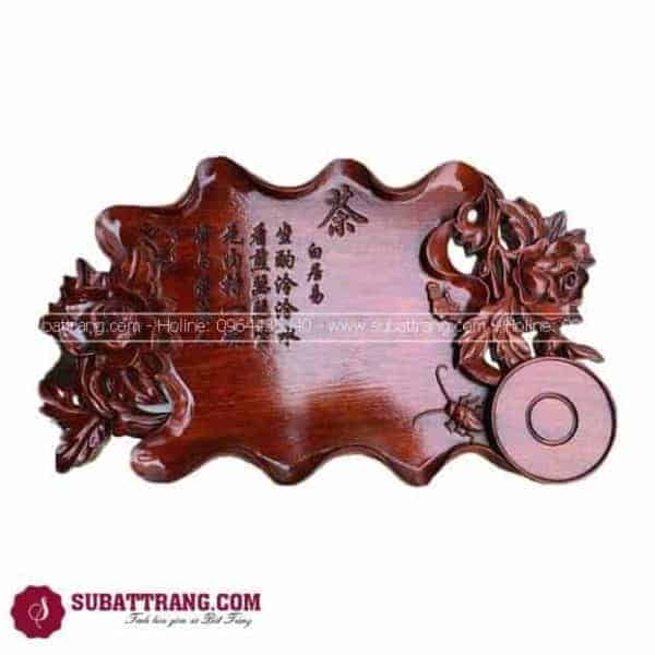 Khay Trà Gỗ Cao Cấp Khắc Hoa Hồng - 140015
