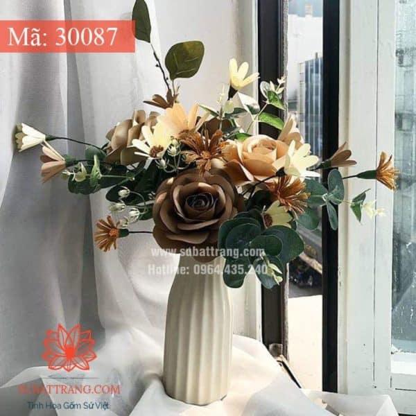 Lọ Hoa Dáng Dọc Trắng - 30087