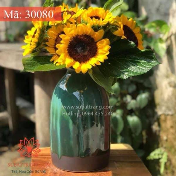 Lọ Hoa Men Hỏa Biến Dáng Chai - 30080