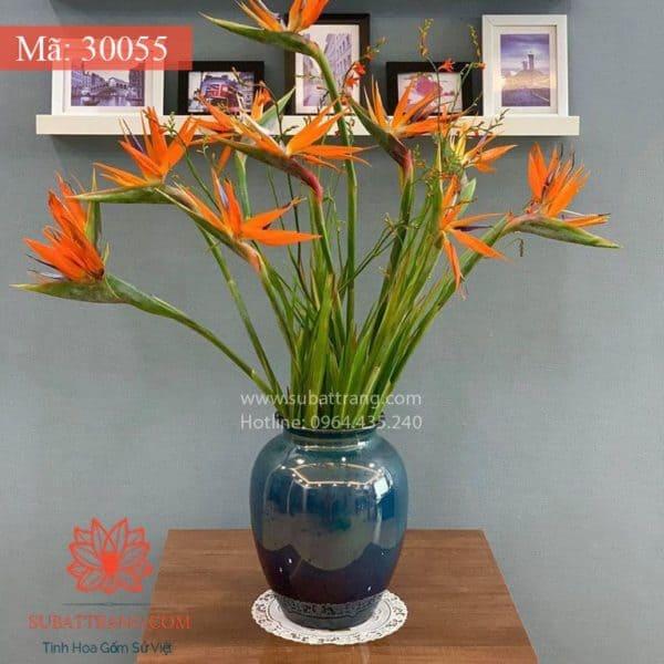 Lọ Hoa Men Hỏa Biến Dáng Chum - 30055