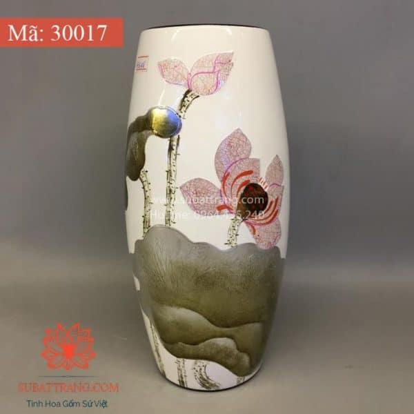 Lọ Hoa Sơn Mài Khảm Trai Hoa Sen Dáng Bom - 30017