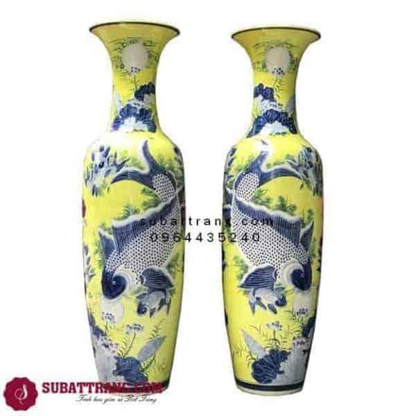 Lọ Lộc Bình Bát Tràng Lý Ngư Vọng Nguyệt Men Vàng Vẽ Kỹ 1m4 – 70048