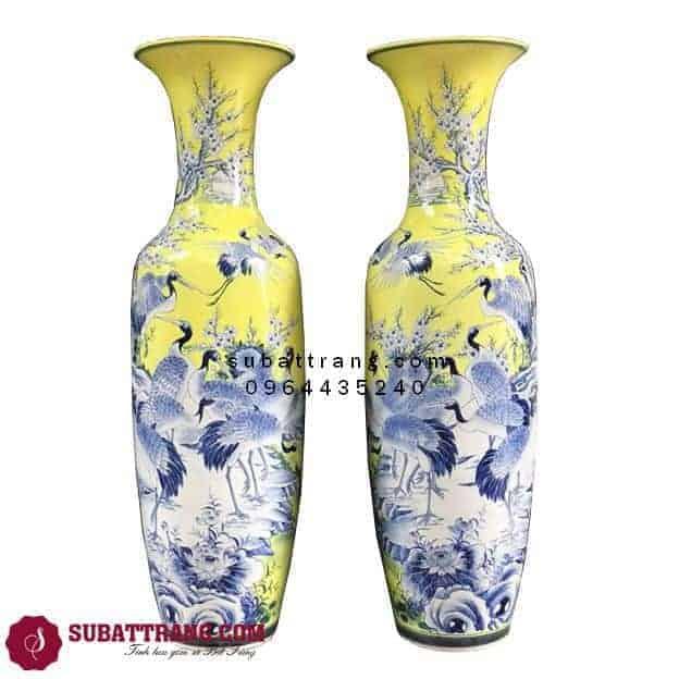 Lọ Lộc Bình Mai Hạc Vàng Phú Quý Tài Lộc Vẽ Kỹ 1m6- 70037