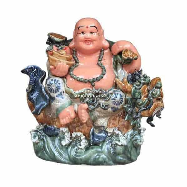 Tượng Di Lặc Cưỡi Cá Chép Hóa Rồng Men Rạn Cổ Cao 55cm - 200004