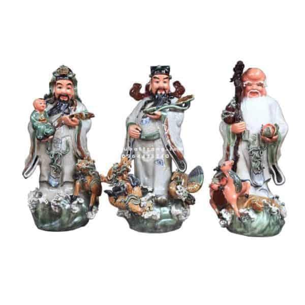 Tượng Phúc Lộc Thọ Men Màu Hổ Phách Cao 70cm - 200006