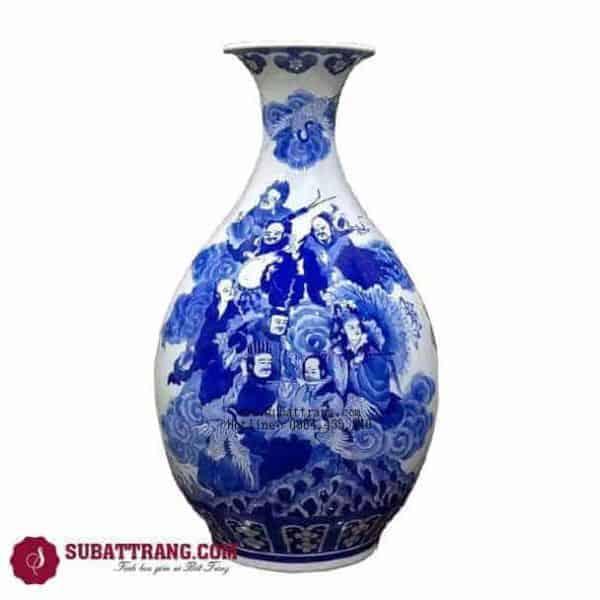 Tỳ Bà Bát Tiên Quá Hải Men Lam Cổ - 120063