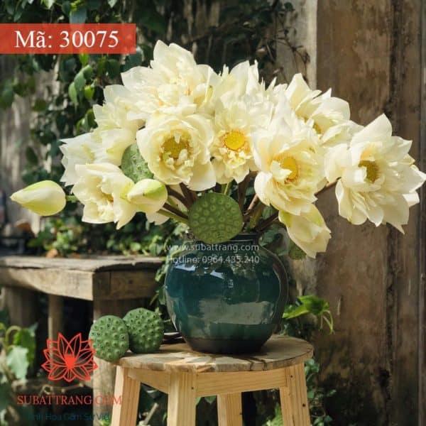 Vò Cắm Hoa Men Hỏa Biến Dáng Tròn - 30075