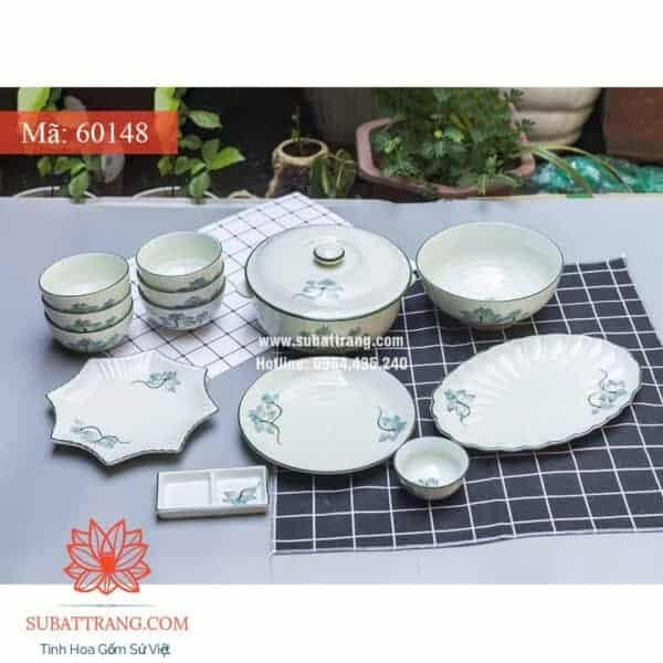 Bộ đồ Ăn Hoa Sen Men Kem - 60148