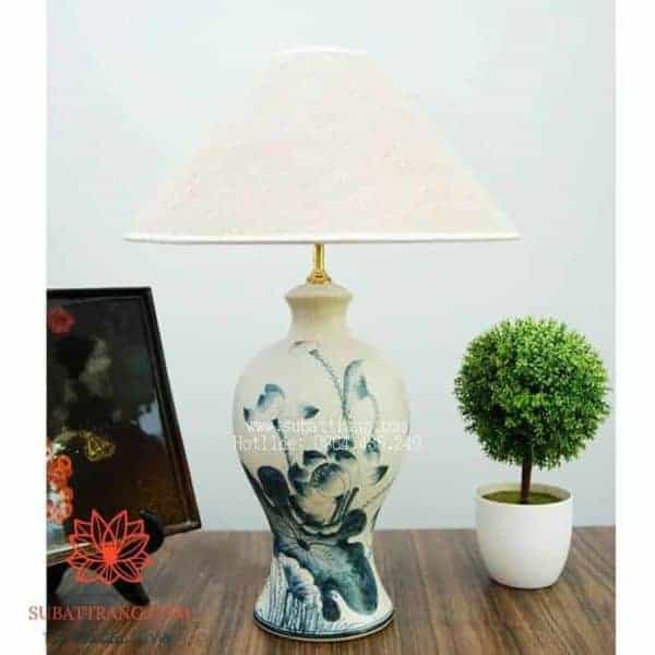 Đèn Ngủ Sứ Men Rạn Giả Cổ Vẽ Hoa Sen - 150021