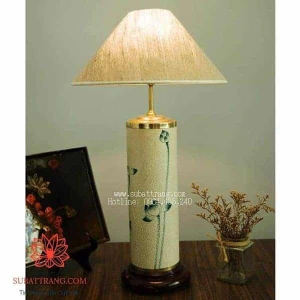 Đèn Ống Sứ Men Rạn Vẽ Sen - 150016