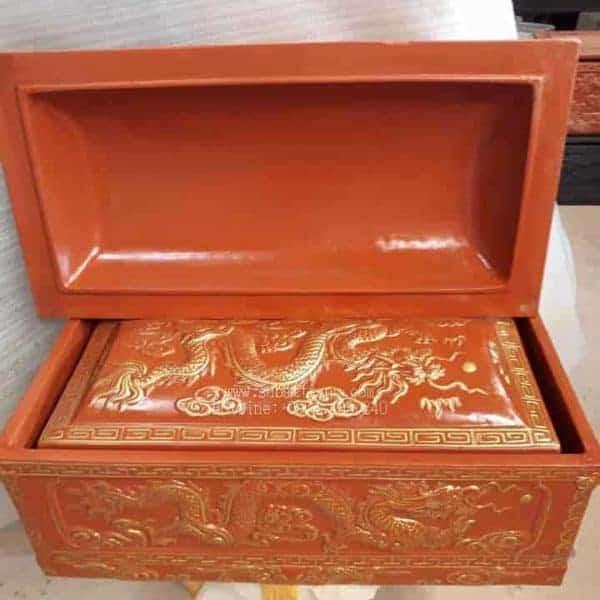 Quách Tiểu Mái Vòm Họa Tiết Rồng Nhũ Vàng Nâu Đất - 190032
