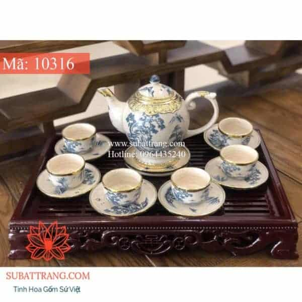 Bộ Ấm Chén Dáng Thần Đèn Bọc Đồng Cảnh Sơn Thủy - 10316