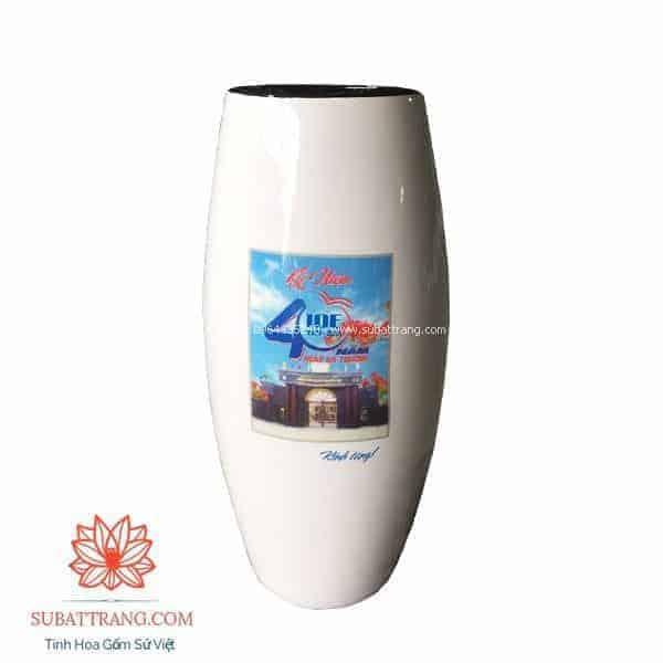 Lọ hoa dáng bom in logo - 130100