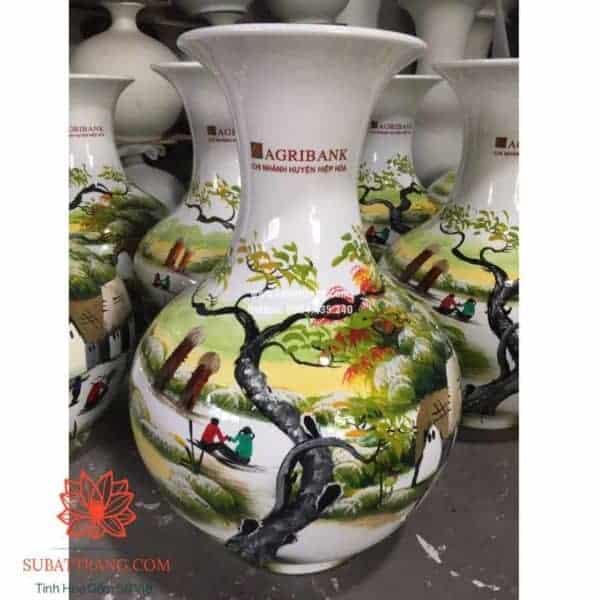 Lọ hoa dáng tỏi cao in logo - 130092