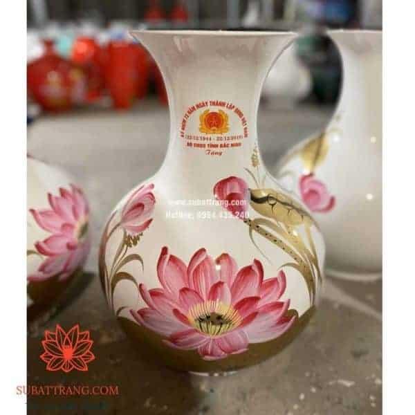 Lọ hoa sơn mài dáng tỏi cao in logo - 130090