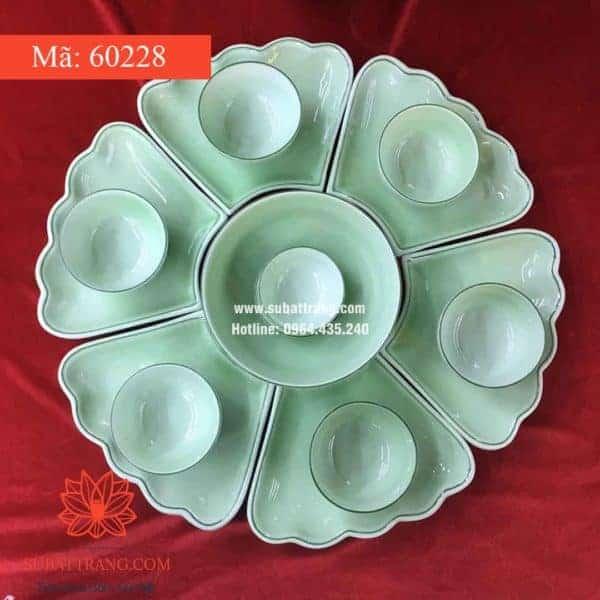 Set Đĩa Hoa Men Ngọc Bát Tràng - 60228