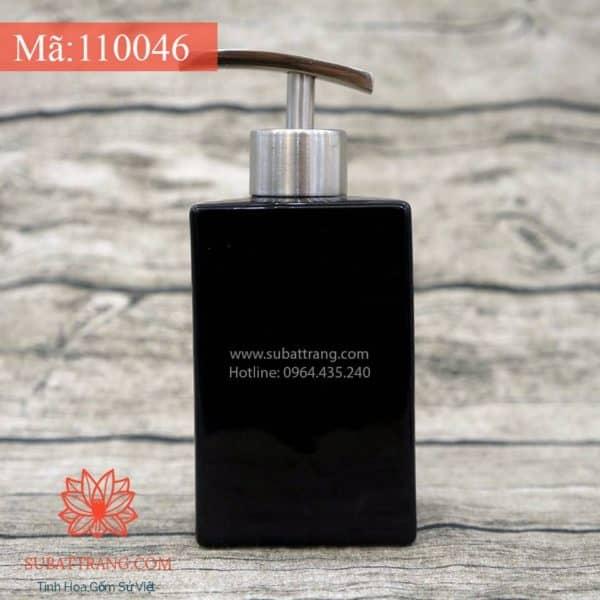 Bình Đựng Dầu Gội Sữa Tắm Dáng Chữ Nhật Men Đen - 110046