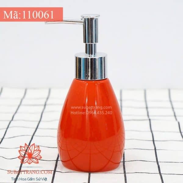 Bình Đựng Dầu Gội Sữa Tắm Dáng Tròn Men Đỏ - 110061