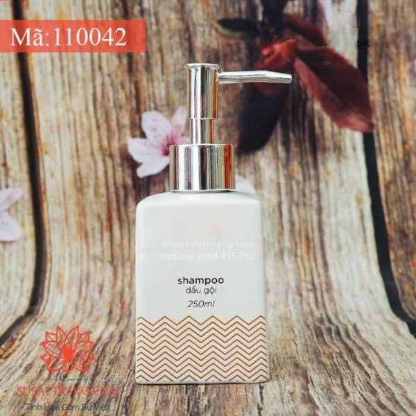 Bình Đựng Dầu Gội Sữa Tắm Dáng Vuông Sóng Đỏ - 110042