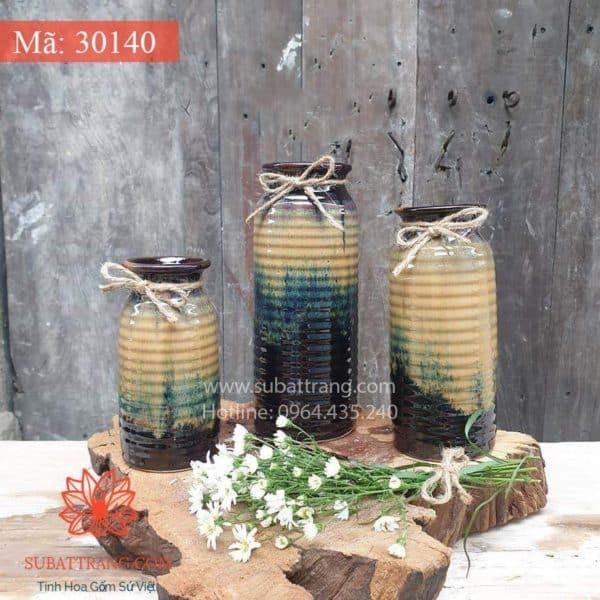 Bộ Ba Lọ Hoa Phích Vằn Bát Tràng - 30140