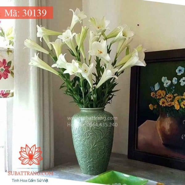 Lọ Hoa Khắc Nổi Hoa Phù Dung Dáng Chum Thon - 30139