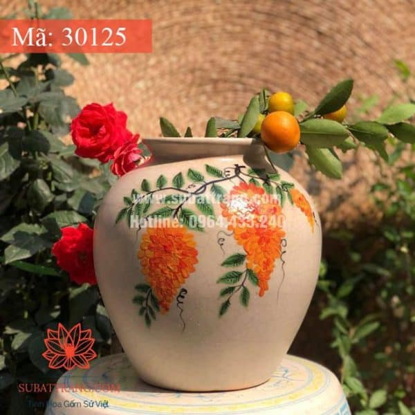 Vò Hoa Thấp Bát Tràng Men Rạn - 30125