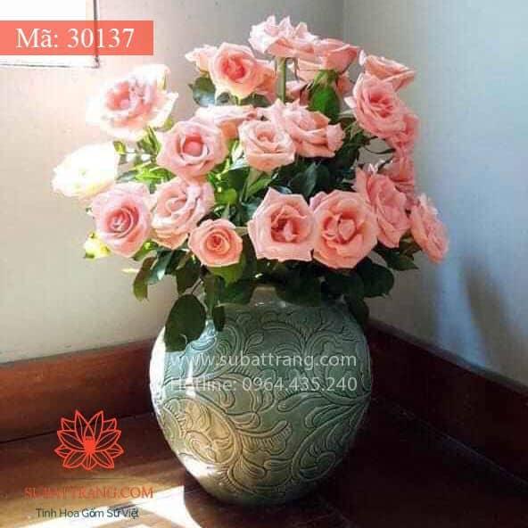Vò Khắc Nổi Hoa Phù Dung Dáng Tròn - 30137